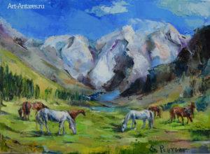Горы и кони