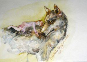 Волк с девочкой