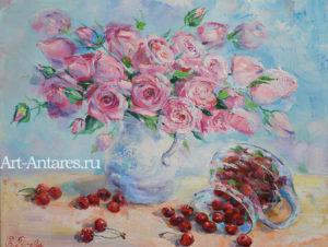 Розы и вишни