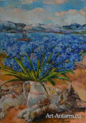 Букет синих цветов.