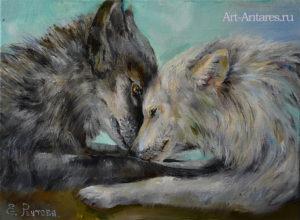 Черный и белый волки.