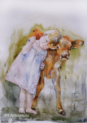 Девочка с теленком.