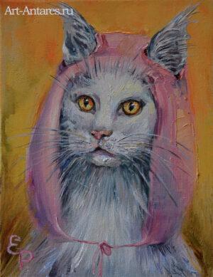 Кошка в розовой шапочке.