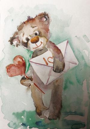 Открытка мишка с конвертом и сердцем.