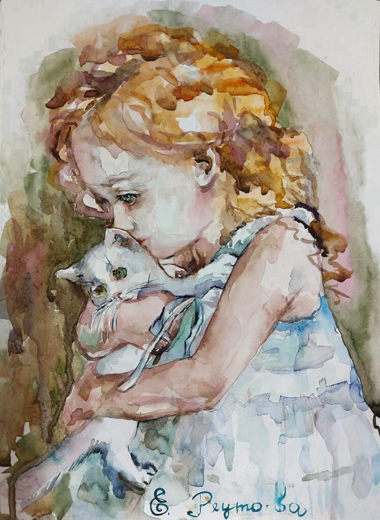 Малышка и белый котенок.