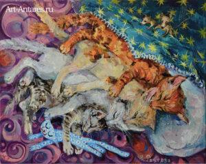 Красивая картина для детей коты спят.