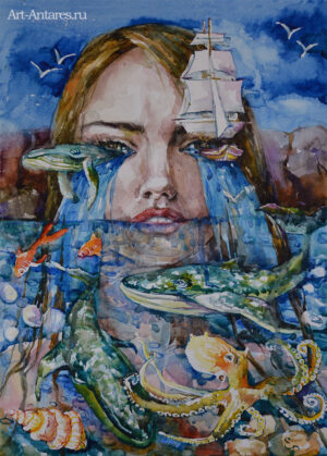 Акварельная картина девушки в море.