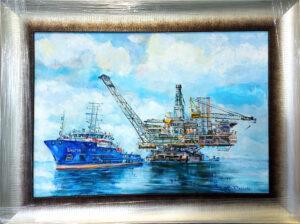 Нефтяная вышка на море.