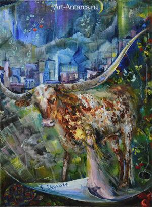Картина с быком.