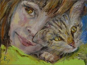 Девочка и котенок.
