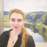 Елена Реутова с картиной.