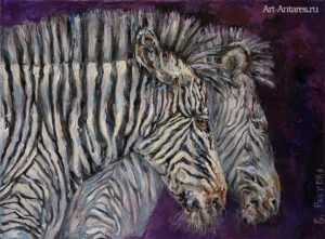 Продажа картин с зебрами.
