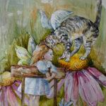 Девочка ангел с котом ангелом и эхинацея.