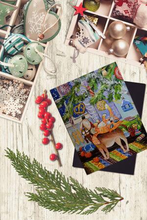 Смешная открытка на новый год. Пес и кот под елкой.