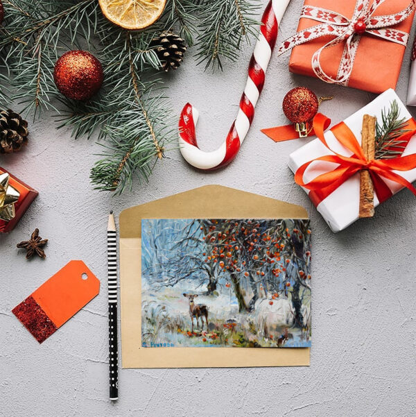 Зимняя открытка с косулей.
