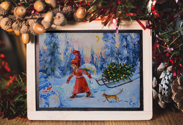 Картина с новогоднем ангелом.