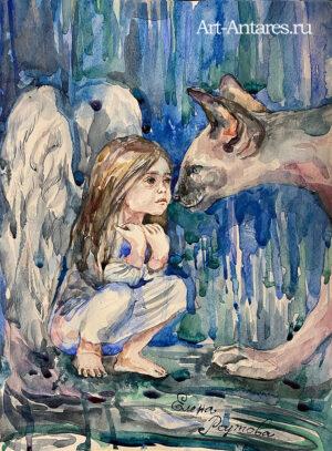 Ангел с кошкой
