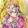 Близость девочки и котенка.