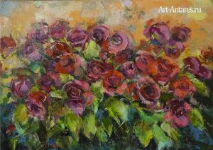 Стильная живопись бордовых роз.
