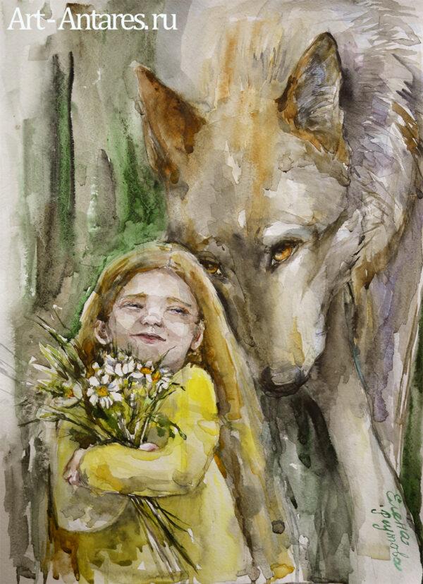 Девочка и волк. Акварель Елены Реутовой.