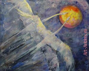 Две птицы летят вместе всегда к солнцу.
