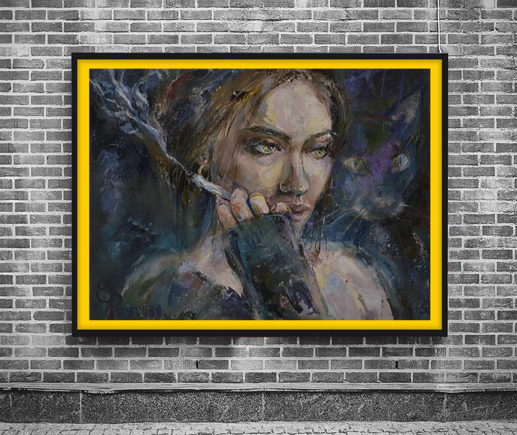 Красивая картина девушки с сигаретой.