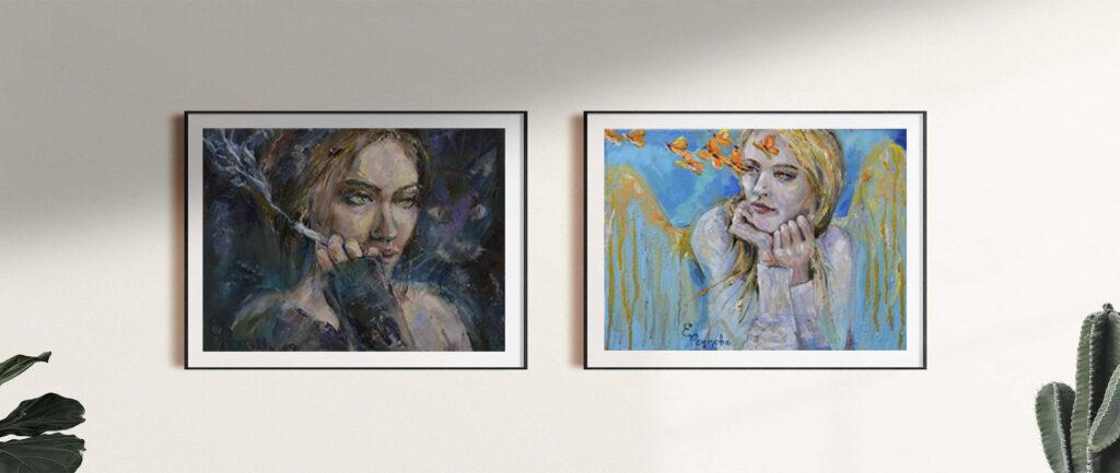 Продаются женские портреты.