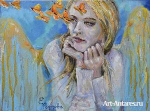 Девушка ангел с бабочками.