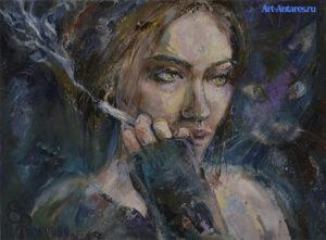 Картина курящей девушки.