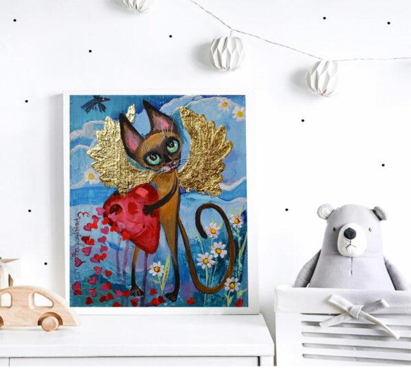 Сиамский котик с крыльями