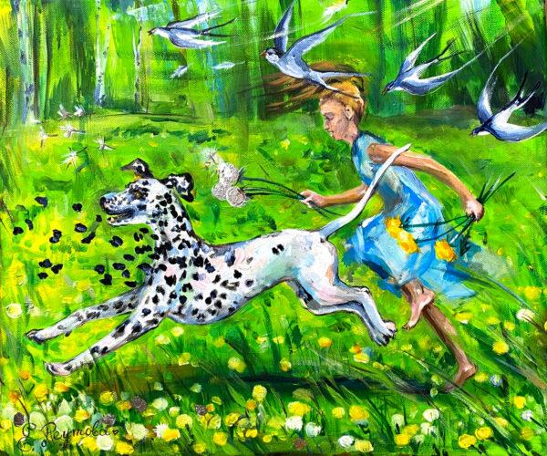 Веселый далматинец и зеленое лето.