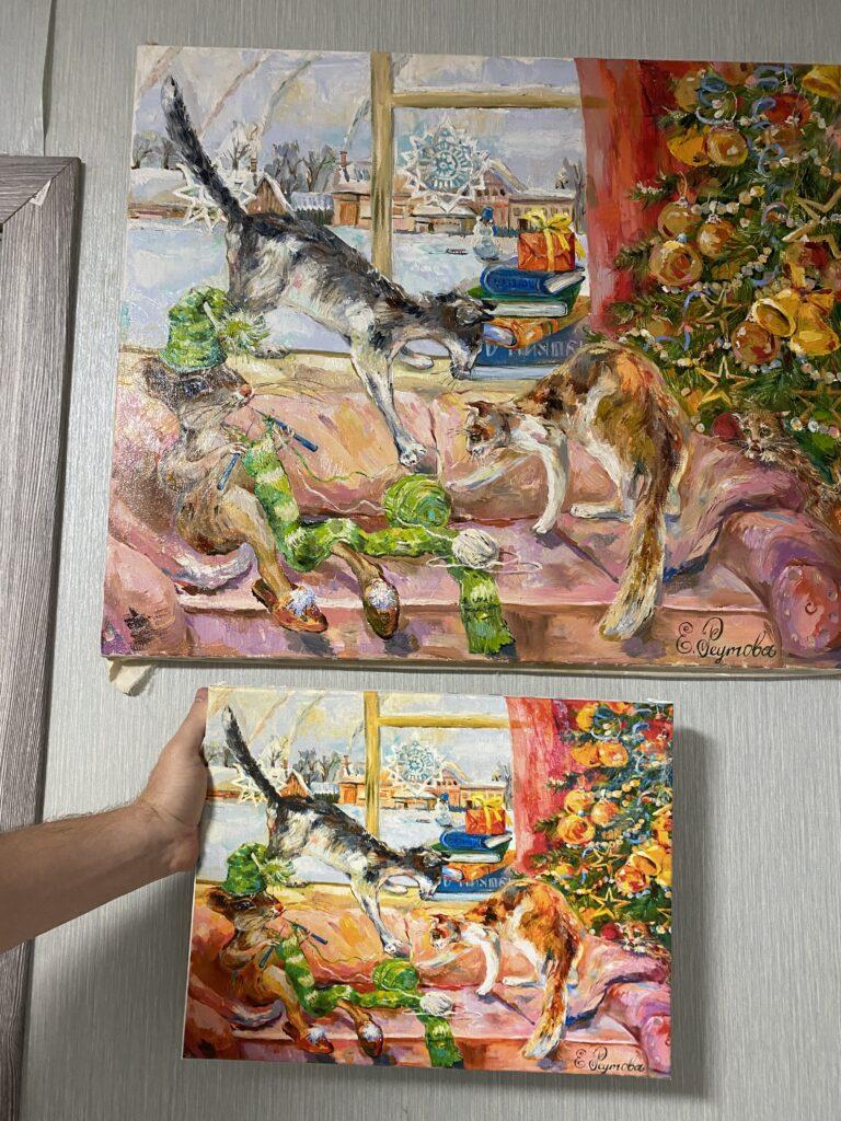 Продается принт с картины с кошками.