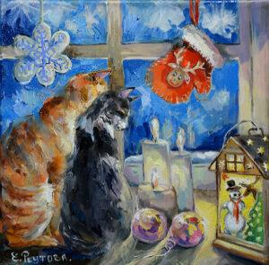 Зимнее счастье двух котов.